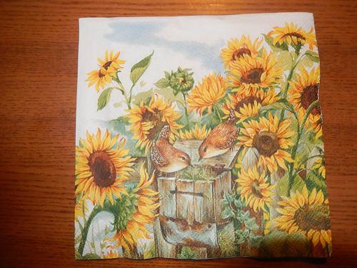 Ubrousek na decoupage - ptáček ve slunečnici