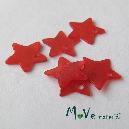 Perleťové penízky hvězdičky 13mm, 6ks, červené