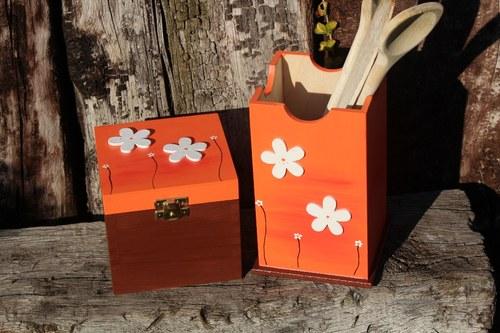 Dřevěná krabička na CUKR, SŮL a VAŘEČKY