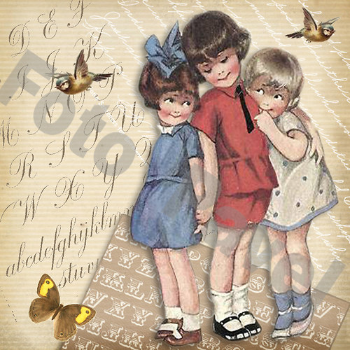 Vintage motiv - tři kamarádky
