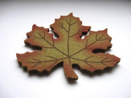 Výsek z plsti - javor zelený 10cm (1ks)