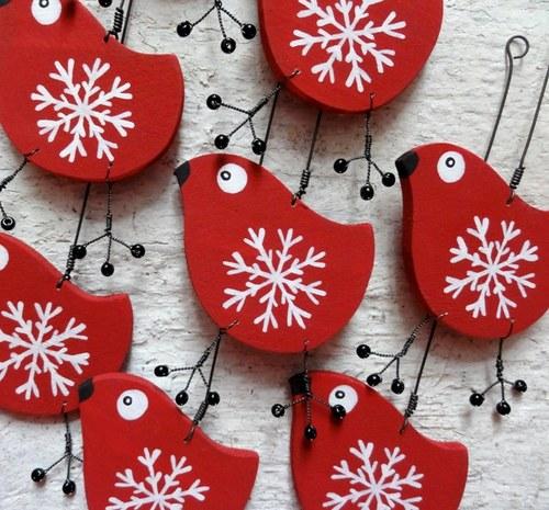 ptáček vánoční - červeno - bílá vločka 03e1421d30