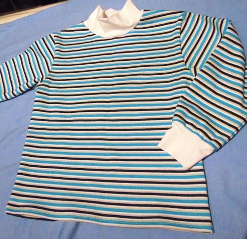 tričko tyrkys,černo,bílý pruh, vel 122-140