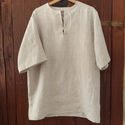 Lněná košile ze 100% lnu s krátkým rukávem XXL