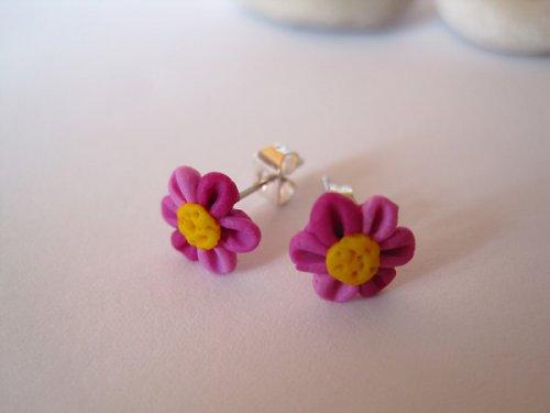 Naušnice - puzetky - růžové kytičky