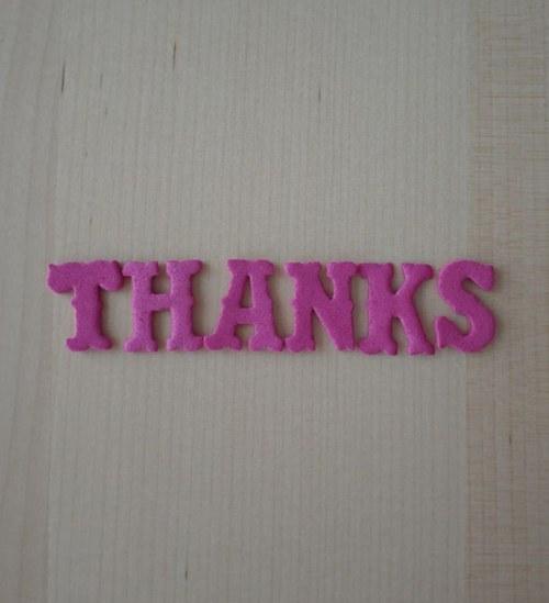 Nápis z moosgumi - THANKS - Pink