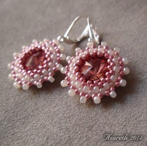 Růžovo-smetanové rivolkové náušnice