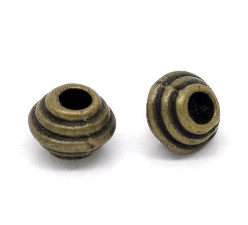 kovový korálek spacer/ bronz/ 6x5 mm/ 6ks