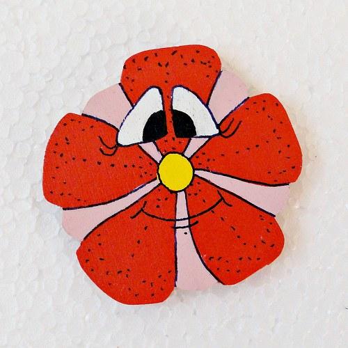 Magnet červená kytka