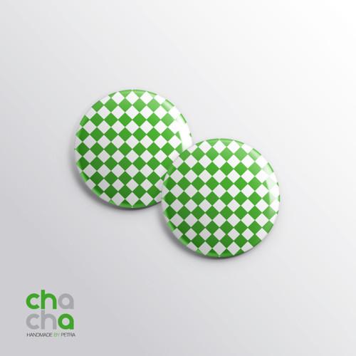 Kostkované náušnice - zelené