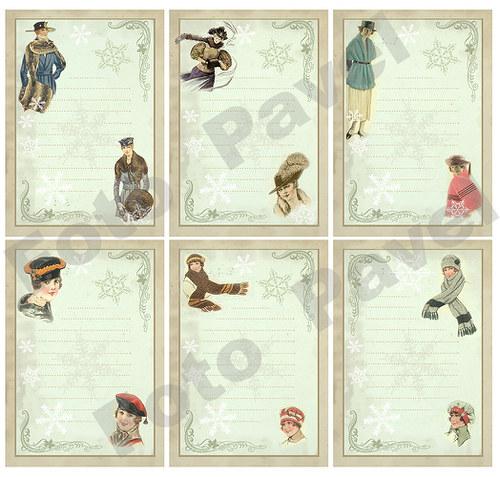 Vintage kartičky (journaling) - dívky v zimě