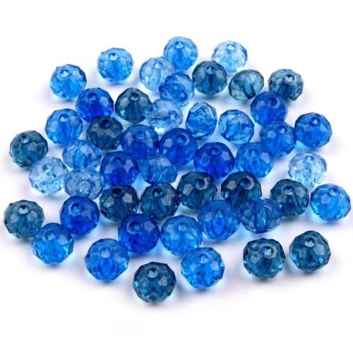 Plastové korálky slavík, modrá tm., 6x8mm (20g)