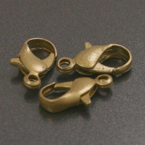 Zapínání - karabinka 12 mm, bronz 10 ks