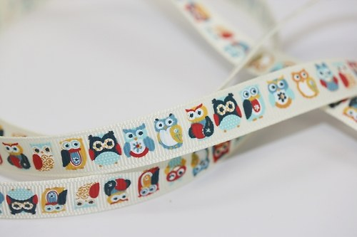 Stuha Owls In a Row Blue - 12,5  mm - ADORNIT