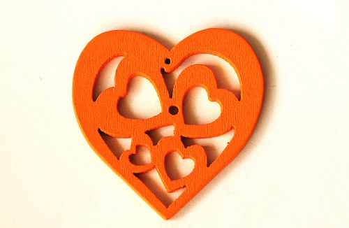 dřevěná srdíčka- oranžová