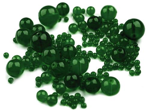 Korálky sklo mix 4-18mm - tm.zelené (95gr.)