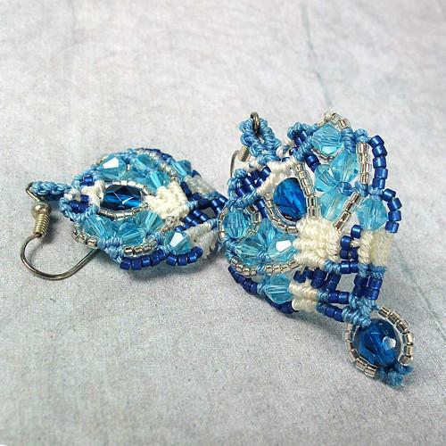 Macramé náušnice Alžběta modré
