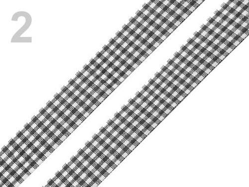 Stuha károvaná š.18mm řezaná černá