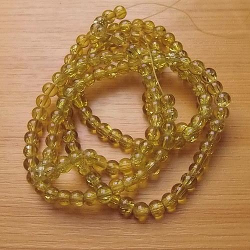 Praskané korálky - 6mm - žluté
