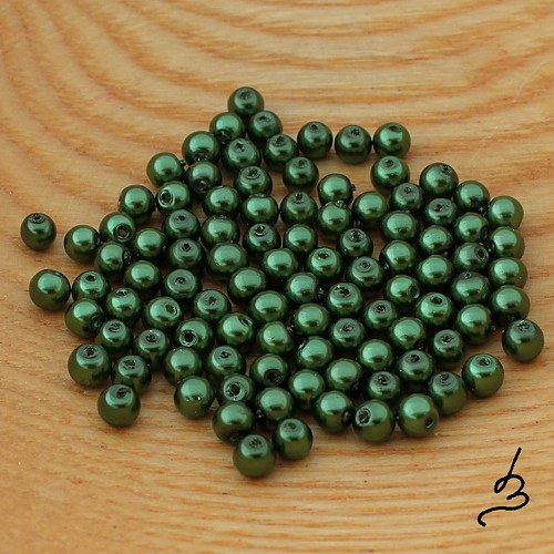 Voskové perle zelené TM 4 mm - 100 ks