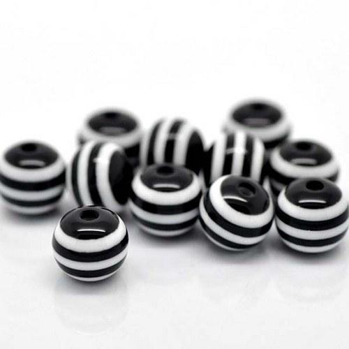 kuličky pruhované/ plast / 11mm/ černobílá/ 6ks