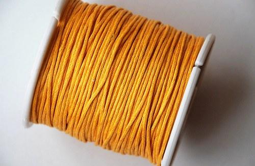 voskovaná šňůrka 10m, sluníčkově žlutá