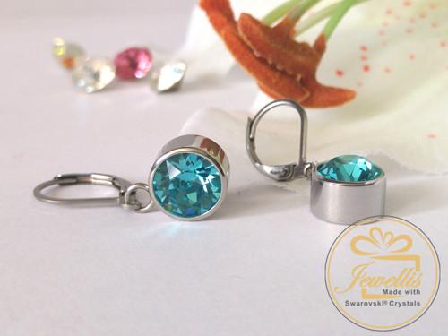 Ocelové visací náušnice Swarovski- Light Turquoise