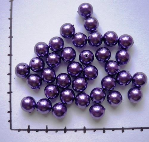 Perličky skleněné voskované fuchsiová 8mm, 36 ks