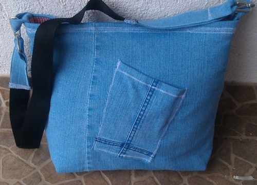 DENIM HANDBAG WITH DICE - RECY KABELA