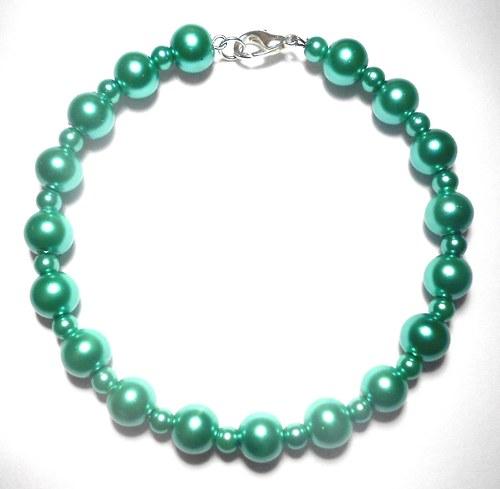 Perly - náramek zelenkavý