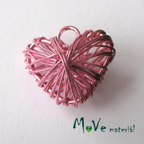 Přívěsek 20x22mm drátované srdce sv.růžové 1ks