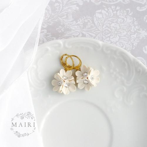 Mairi - svatební náušnice pozlacené ivory