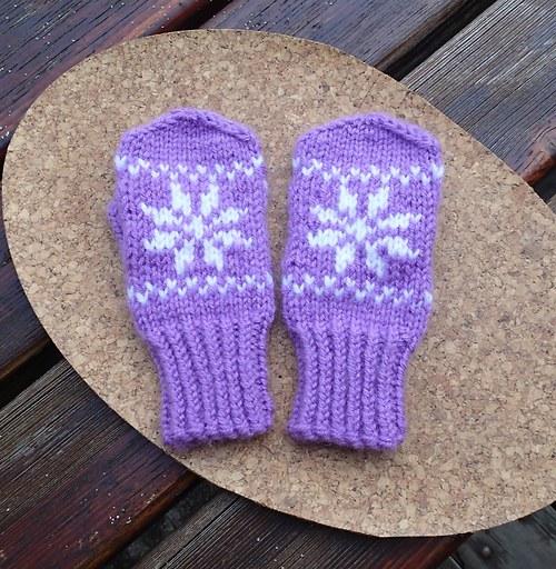 Dětské rukavice -  fialové s bílou vločkou