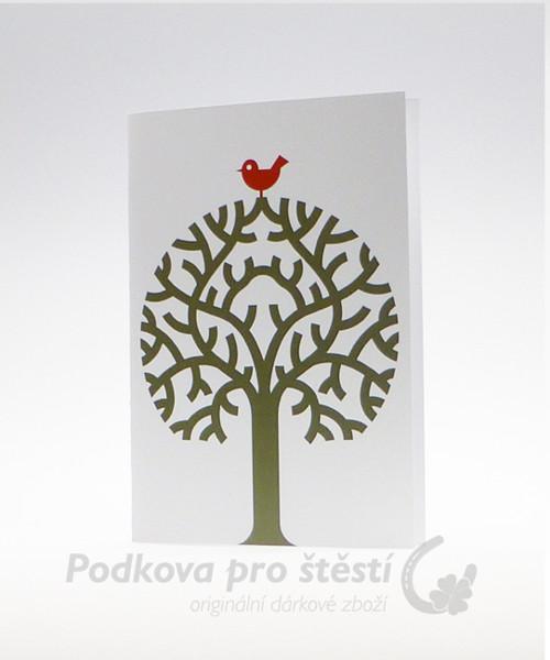 Přání tištěné C6, červený ptáček na stromě