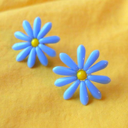 Retro náušnice modré kytičky