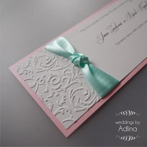 svatební oznámení_ mint and pink DL