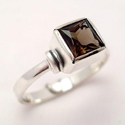 Prsten «Čtverec» - Ag 925/1000, přírodní záhněda
