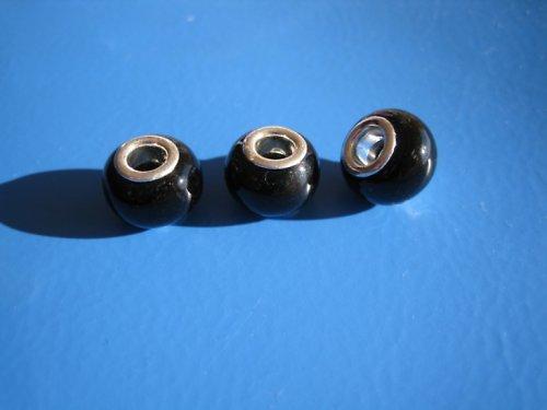 Vinuté korálky 2ks - odstín černá
