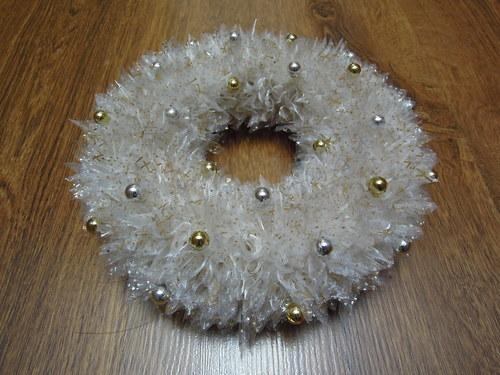Vánoční věneček organzový  - bílý