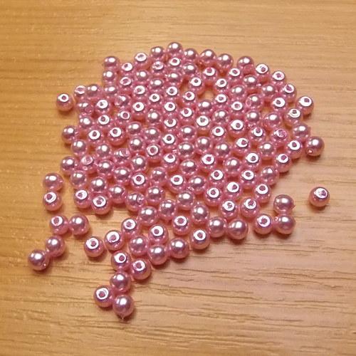 Voskované perly 3 mm -  růžové