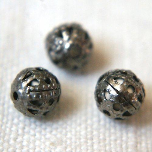 Filigránové kuličky 6 mm starostříbrné 10ks