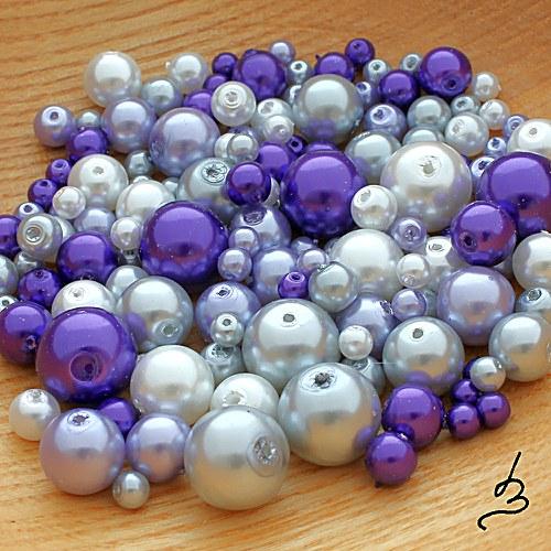 Fialová směs voskových perel - 50 g