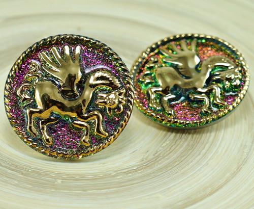 1ks Zlatý Pegasus Kůň Sopky Zelená Fialová Zvíře R