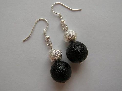 naušnice perla s křišťálovou kov. kuličkou