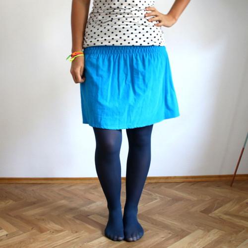 Žabková suknička, manžestrová - tyrkysová :)