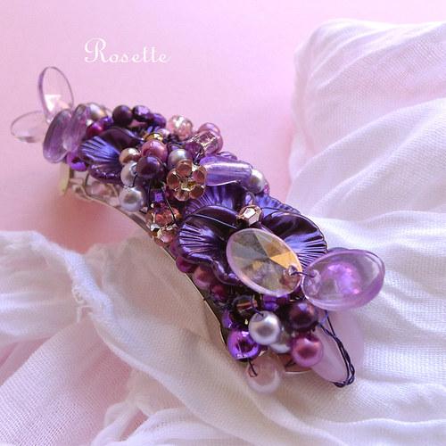 Fialy a fialky .... - spona do vlasů