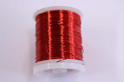 Měděný drátek 0,8mm - červený, návin 8,5-9m