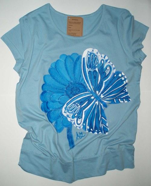 Tričko - sv. modré ručně malované
