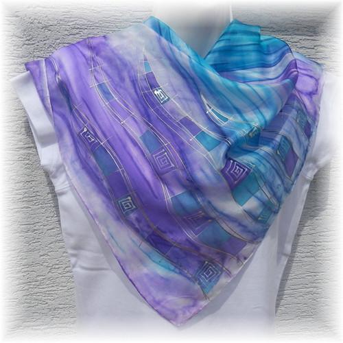 Hedvábný malovaný šátek - Let vážky