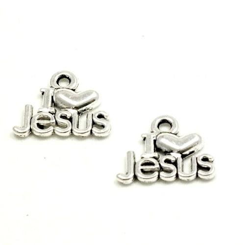 Přívěsek - I LOVE JESUS, 2 ks
